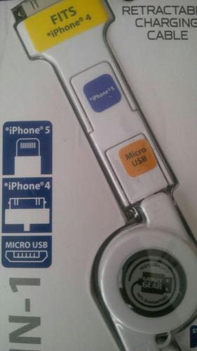 Cable Usb Cargador Retractil Triple iPhone 3 4 4s 5 5s 6