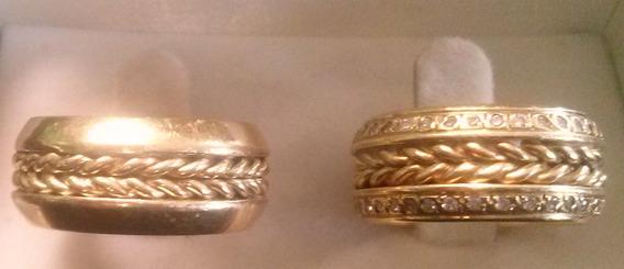 Aliança De Casamento Ouro 18 K Com Diamantes De Zircônia