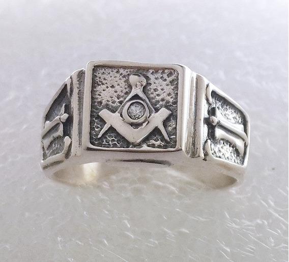 Anel Da Maçonaria/maçom, Esquadro Compasso Em Prata C/ Pedra