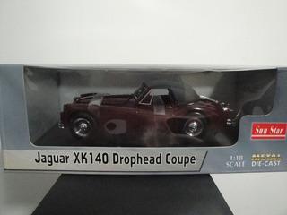 Mini Jaguar Xk 140 Drophead Coupe 1:18 Sun Star Burgundy