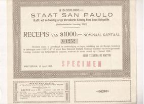 Apólice - Staat San Paulo - Specimen - Ano 1926