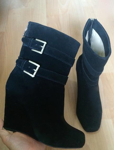 Zapatos Tacones Botas Michael Kors Piel Fina Suede Negros!!