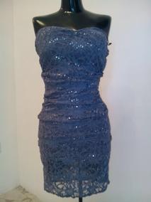Vestido Strapless Azul Moderno Talla Chica