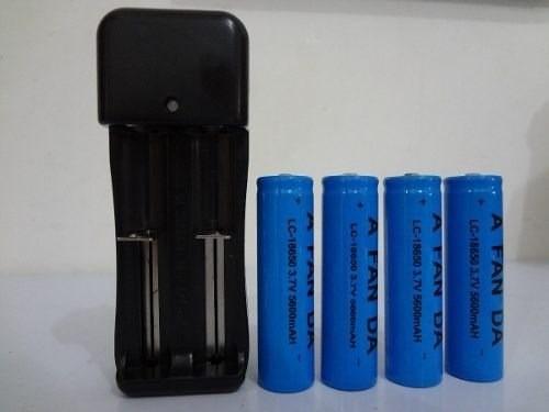 Kit Carregador Duplo+4 Baterias 18650 3,7v 5800mah