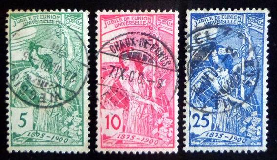 Suiza, Serie Yv. 86-88 25 Aniversario Upu 1900 Usada L8967