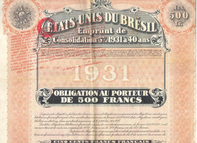 Apólice- Etats Unis Du Bresil Emprunt De Consolidation 1931