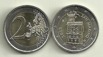 Moneda San Marino Bimetalica 2 Euro Año 2013 Sin Circular!!!