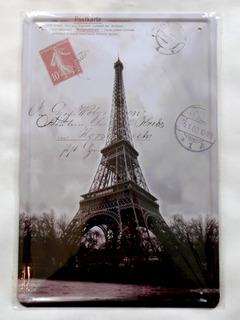 Placa Decorativa Vintage Paris Torre Eiffel Cartão Postal