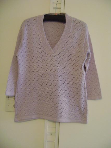 Sweater Lila / Lavanda Hilo De Algodon - Calado - Nuevo -
