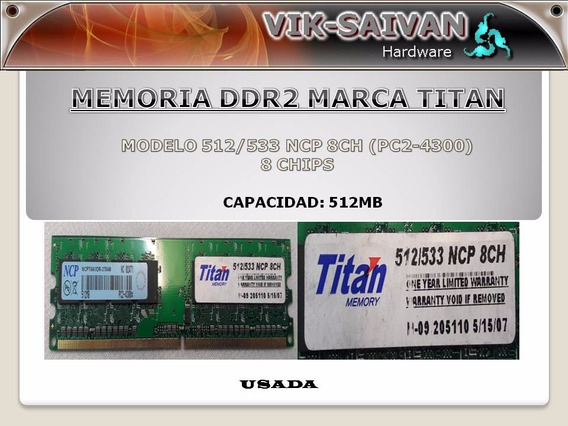 Memoria Ddr2 Titan 512mb Pc2-4300 533mhz 8 Chips 18