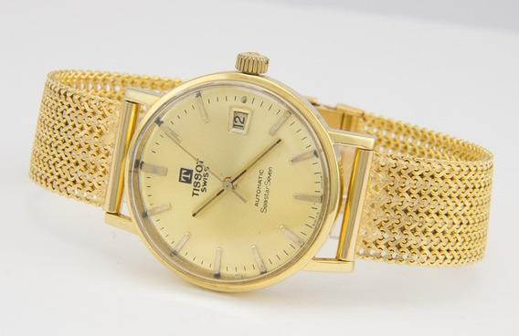 Relógio Tissot Masculino Original Com Pulseira Em Ouro 18k
