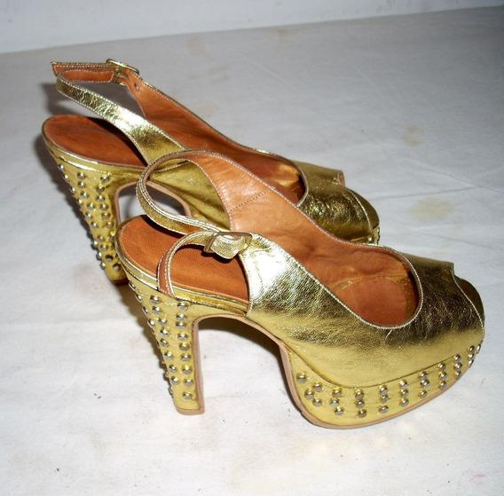 Zapatos De Cuero Con Tachas Y Plataforma