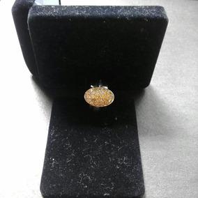 Anel Em Ouro Branco Com Diamantes Amarelos