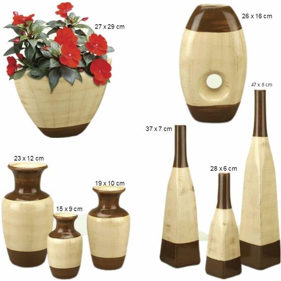 Trio De Vasos Cerâmica Mais Enfeite De Mesa Cachepô Bege