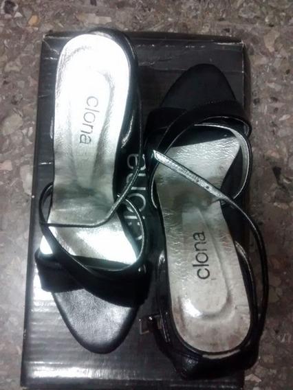 Zapatos Clona Negros Nùmero 36 Taco Chino