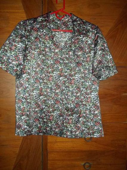 Camisa Dama Seda Clásica Hermoso Estampado Delicado Xl