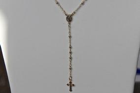 Rsp J2456 Colar Rev A Ouro Com Terço E Crucifixo