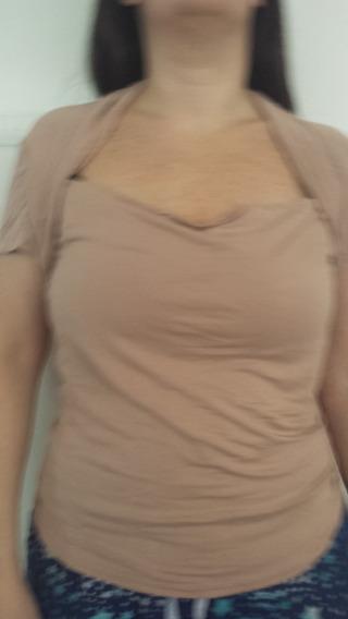Camiseta Detalhe Nude Gg Linda Veste G Um Uso Nova Zara