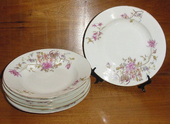 Juego 6 Platos Hondos Porcelana Limoges Wg. Clavel Rosas Oro