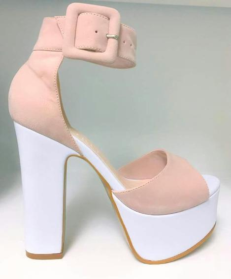 Sandálias Plaforma Salto Branco