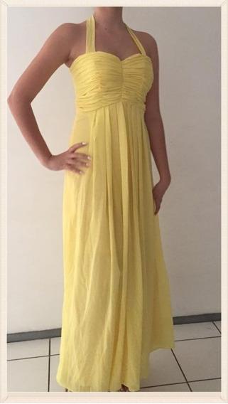 Vestido Longo Lindo Amarelo Em Chiffon Madrinha Casamento