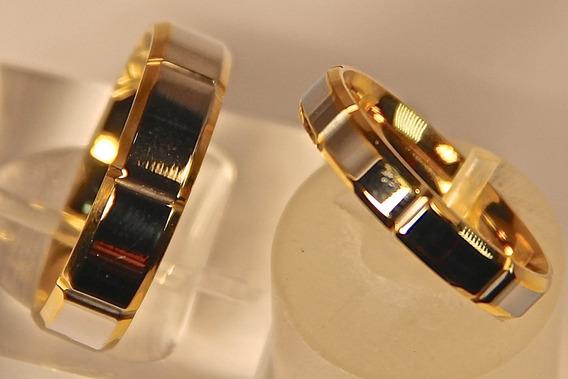 Rsp J2463 Aliança De Compromisso Titânio Prata / Dourado