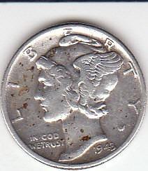 Eeuu, Antigua Moneda De Plata 0,900 10 Ctvs. 1.943