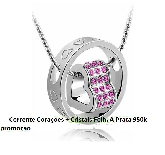 Corrente Coraçoes + Cristais Folh. A Prata 950k-promoçao