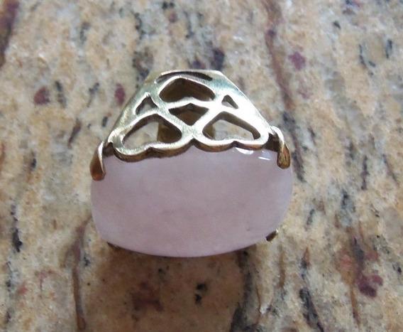 Anel Pedra Quartzo Rosa E Metal