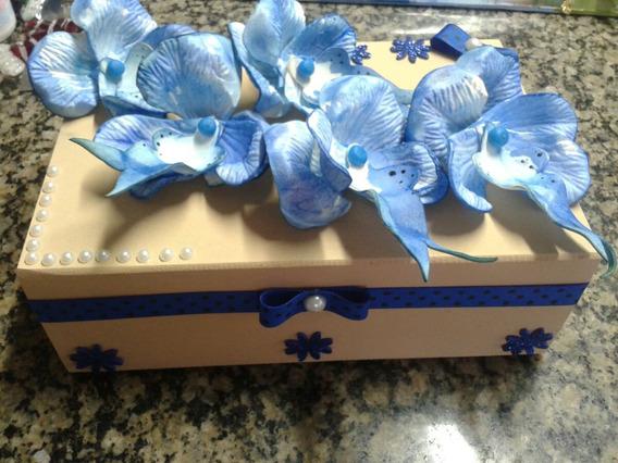 Porta Jóia Mdf Com Orquídeas Azul