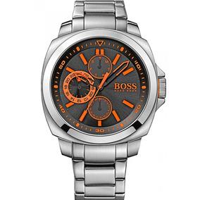 Relógio Hugo Boss 1513117 Orig Chron Anal Silver Orange!!!