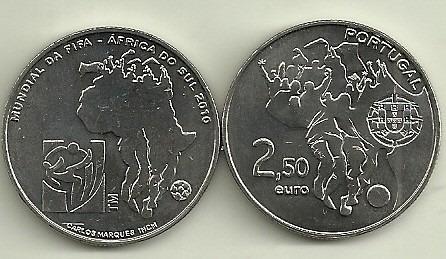 Moneda Portugal 2,5 Euro Año 2010 Futbol Sudafrica