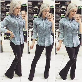 Camisa Feminina Jeans De Qualidade!!! Arrase Nos Looks