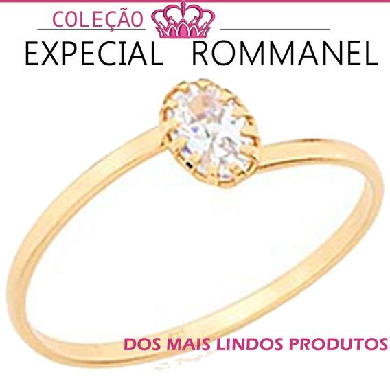 Anel Solitário Skinny Ring Feminino F. Ouro Rommanel 512177