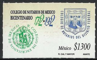 1992 Colegio De Notarios De México Sello Mnh Sc. 1736