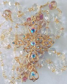Terço De Noiva Dourado Banhado, Feito Com Cristal 12mm