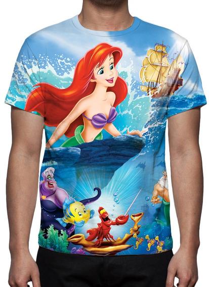 Camisa, Camiseta Disney A Pequena Sereia 02 - Estampa Total