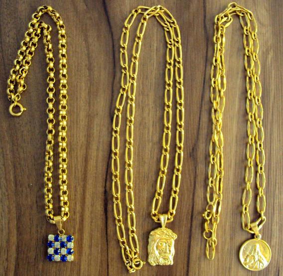 Corrente + Pingente Banhado A Ouro Frete Grátis, 250,00 Cada