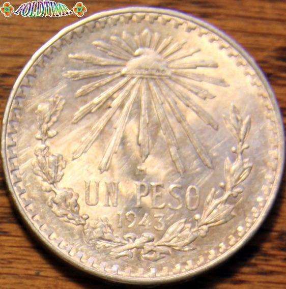 1943 Un Peso Moneda Mexicana Resplandor Rara Au Plata Ley 72