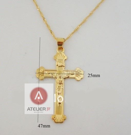 Corrente Cordão Crucifixo Grande Jesus 2 Banhos Ouro 18k