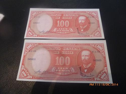 2 Billetes Chile 100 Pesos Corr Remarcados Mol Iba (c-5-9