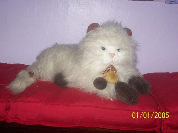 Pelúcia Gato Branco 48 Cm De Comprimento Anos 90