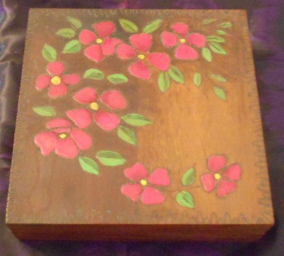 Caixa Madeira Pintada A Mão 1991