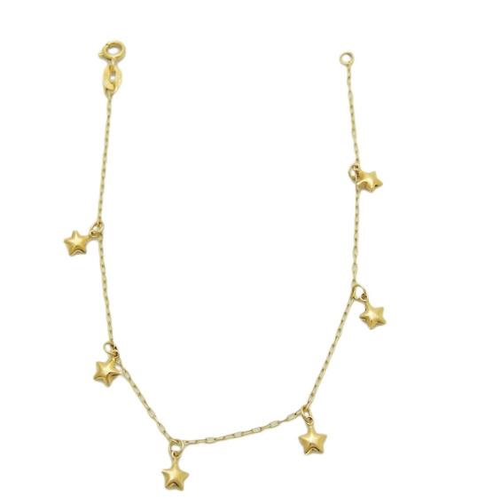 Linda Pulseira De Estrelas Em Ouro 18k