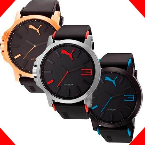 reloj puma hombre negro rojo