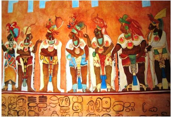Lienzo Tela Canvas Detalle Fresco Bonampak Chiapas 73x50