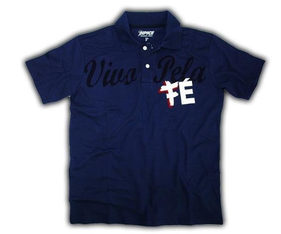 Polo Fé - Cp179 Camiseta Polo Masculina Tam M-cor Azul Marin
