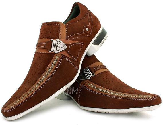 Sapato Casual Masculino Couro 5124-5135 Frete Grátis Marrom!