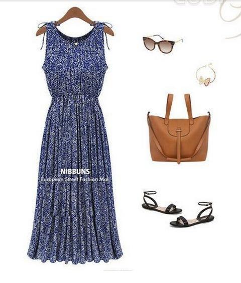 Vestido Longo Azul Feminino