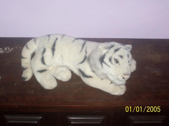 Pelúcia Filhote De Tigre Branco 50 Cm De Comprimento Anos 90